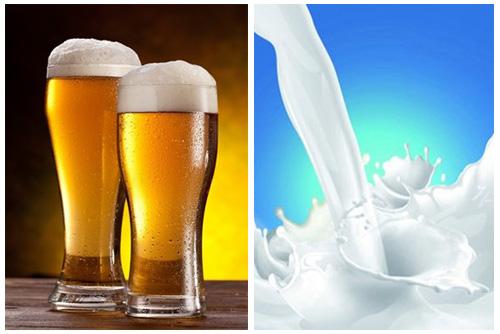 Tắm trắng bằng bia với sữa tươi không đường